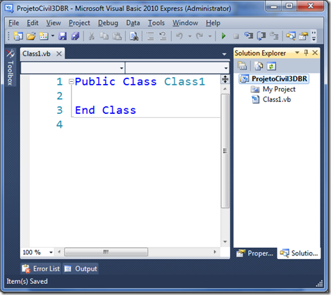 Tela geral do Visual Basic Express